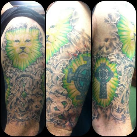 lion cross tattoo half sleeve n celtic cross design