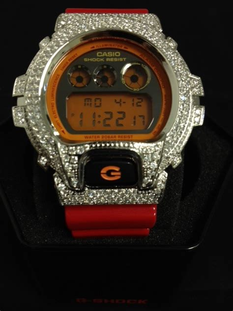custom bling g shock dw6900 custom g shock