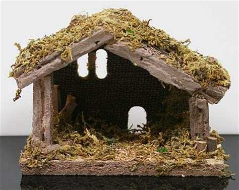 miniature moss covered wooden nativity manger what s new