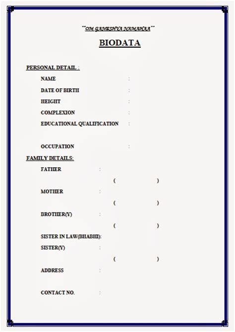 biodata format marriage doc oll in one