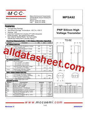 transistor mpsa92 datasheet mpsa92 datasheet pdf micro commercial components