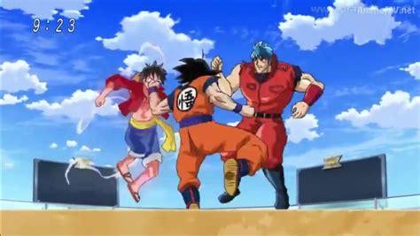 goku and luffy vs toriko luffy vs goku vs toriko especial megas identi