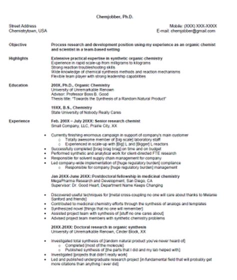 My Resume Review by Chemjobber Critique My Resume