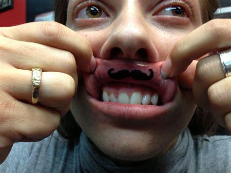 mustache tattoo i did on a girls lip tattoos