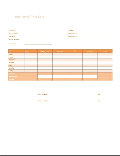 Employee Time Card Template by Employee Time And Attendance Sheet Template Word Excel