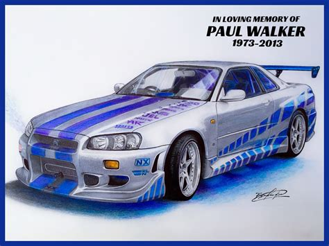 paul walkers nissan skyline drawing nissan skyline gt r 34 2 fast 2 furious cars pinterest