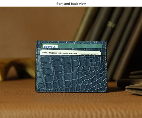 Card Wallet 16 Slot Croco Leather Dompet Kartu No Initial Name 1 luxury blue crocodile leather credit card holder with five card slots view crocodile leather