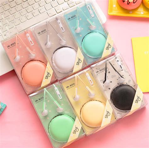 Headset Box Sibly Macarons Biscuit Box Earphone 1 im85 macaroon colors noodle earphones in ear monitor earbuds audifonos bests headphones with