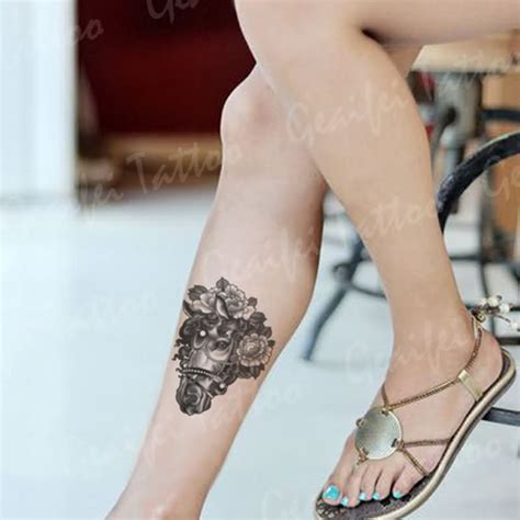 tattoo porn gallery grey with flowers on right leg