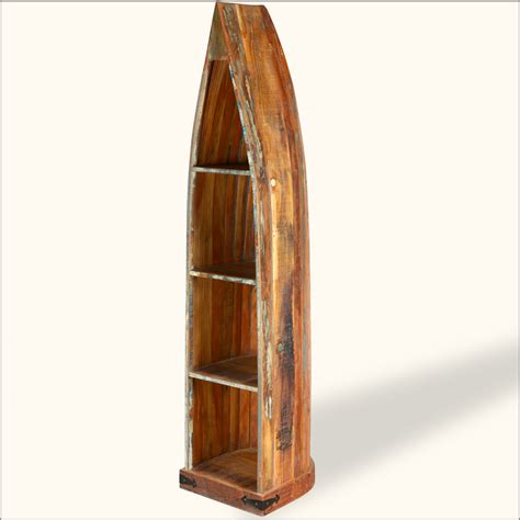 reclaimed wood standing canoe rustic open curio shelf