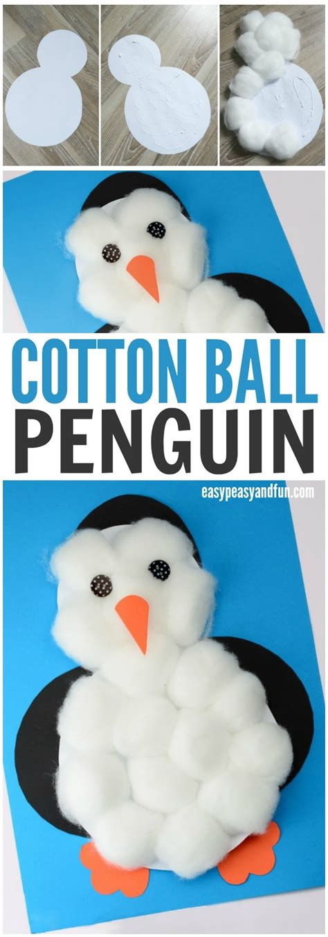 crafts with cotton balls cotton balls penguin craft easy peasy and