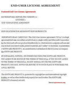 User Agreement Template by End User License Agreement Sle End User License