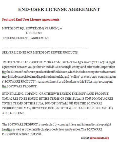 end user agreement template software license agreement template gallery template