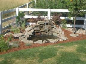 small diy ponds with waterfall and border in the