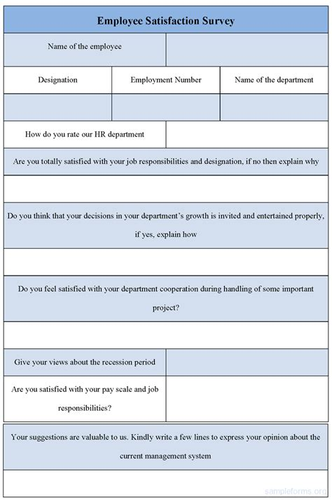 Survey Form - employee satisfaction survey form sle employee satisfaction survey form sle forms
