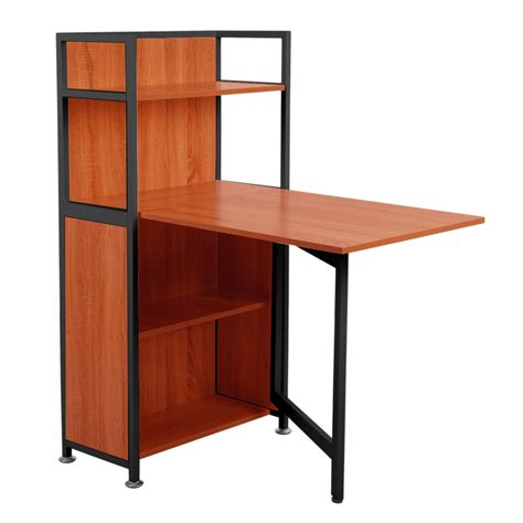 Small Computer Desk With Shelves Carver Compact Computer Desk 4 Storage Shelves With Folding Laptop Desk Ebay