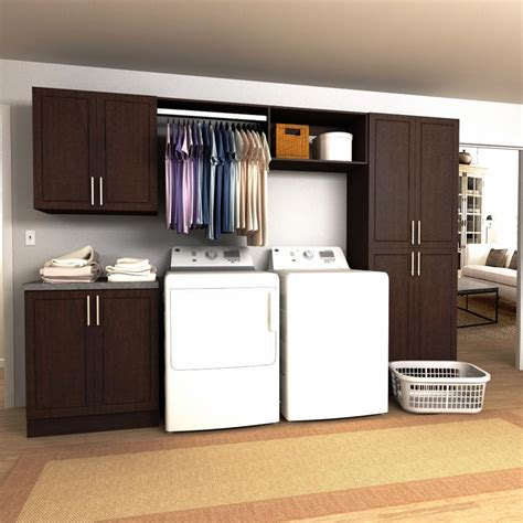 laundry cabinet with hanging rod modifi 120 in w mocha hanging rod laundry cabinet kit enl120b mmg the home depot