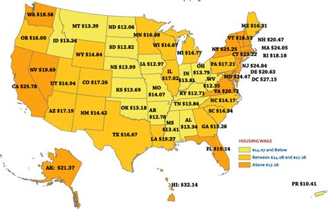 Map Showing The Hourly Wage A Renter Must Earn To