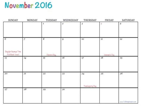 printable calendar november 2015 to march 2016 free printable 2016 calendars