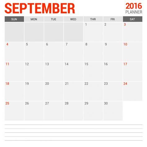 calendario septiembre 2016 para imprimir gratis calendario mensual septiembre 2016 descargar vectores gratis