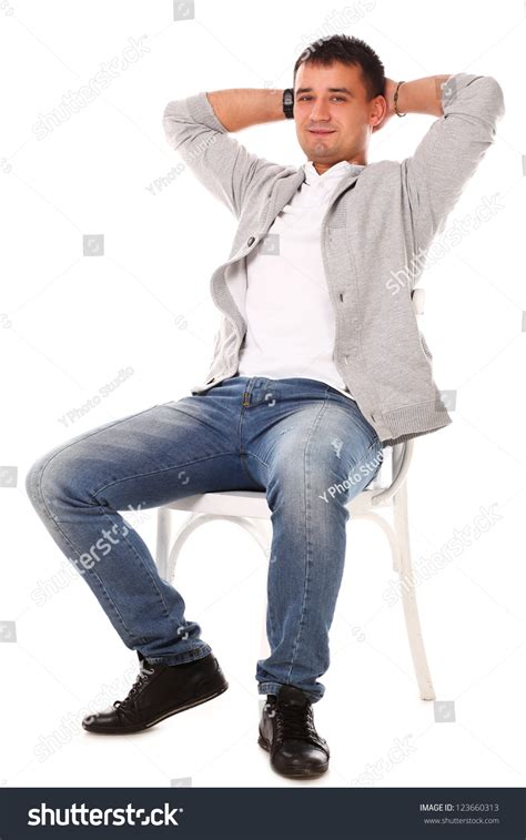 White Sitting Chair Caucasian Handsome Sitting On Stock Photo