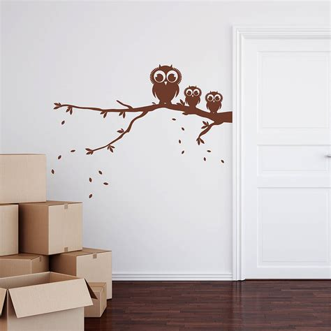 wall stickers for owls on a branch wall sticker by spin collective notonthehighstreet