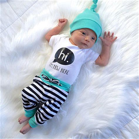 3pcs Newborn Baby Boys T 3pcs Newborn Baby Boys T Shirt Rompers Striped Hats Set Clothes Australia In