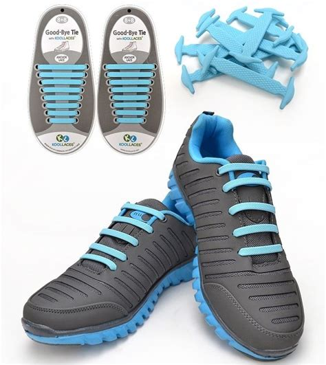 running shoes no laces koollaces elastic no tie shoe laces 16ea sky blue for