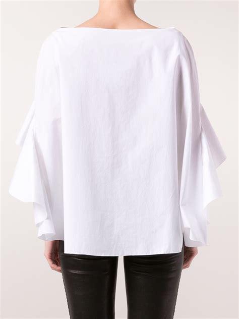 Ruffle Blouse lyst delpozo ruffle sleeve blouse in white