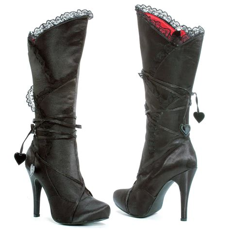 high heel boots black black satin high heel boots