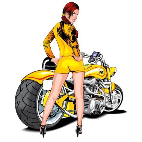 sticker pinup sexy moto