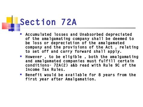 section 72a tax issues in mergers and acquisitions
