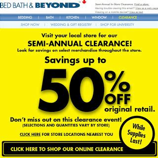 bed bath and beyond sale bed bath beyond semi annual clearance in store sale