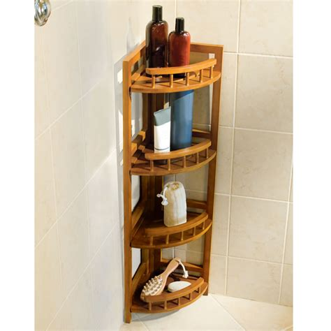 corner bathroom organizer the bamboo shower organizer hammacher schlemmer