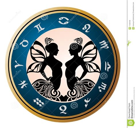 zodiac signs gemini tattoo design stock vector image