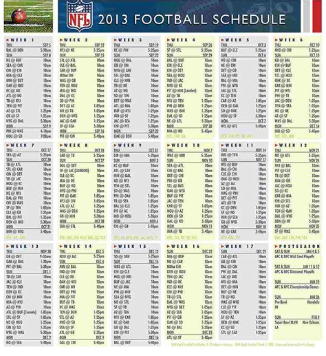 printable nfl team schedules 2014 printable nfl full schedule autos post