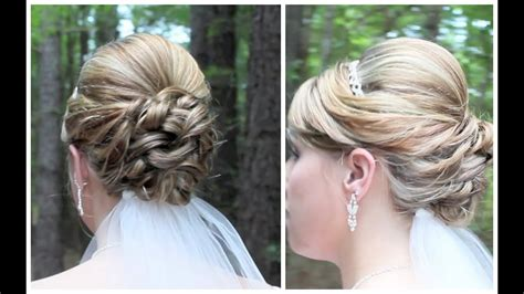 bridal updo on shoulder length hair