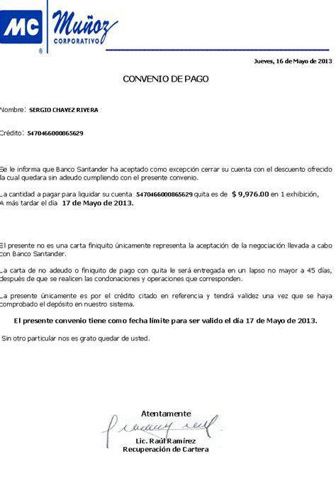 carta de finiquito pago santander en mu 241 os y asociados