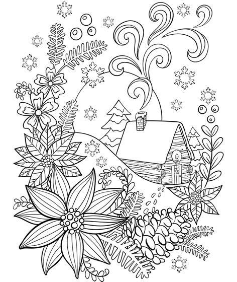cabin   snow coloring page crayolacom