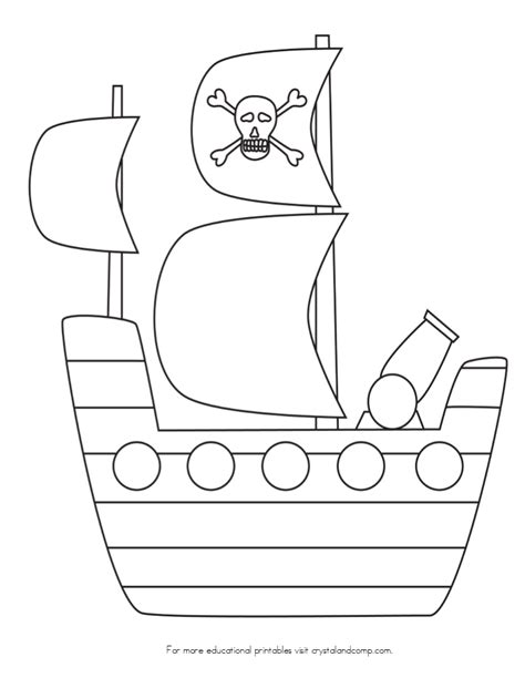pirate ship template for kid color pages