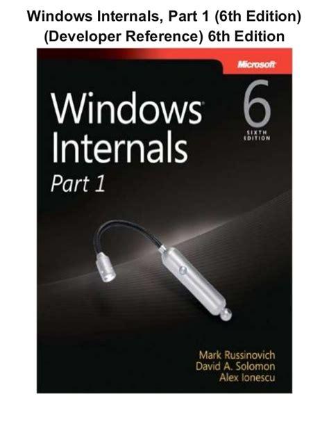 Pdf Windows Internals Part Developer Reference windows internals part 1 6th edition developer
