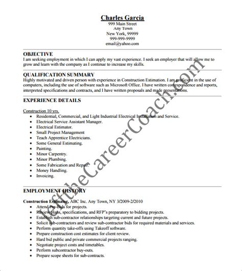 Construction Estimator Sle Resume by Construction Resume Template 9 Free Word Excel Pdf Format Free Premium Templates