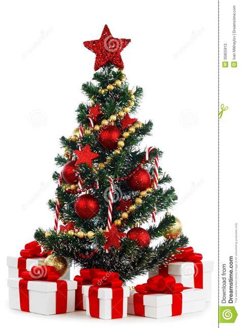 decorated christmas tree  white background stock