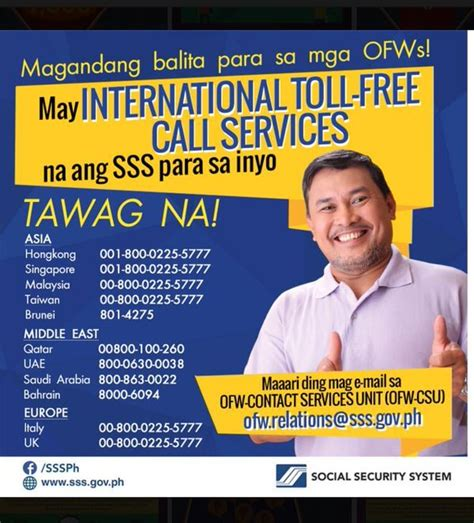 Social Security Office Toll Free Number by Sss Contact Services Unit For Ofws Abroad Sss Answers