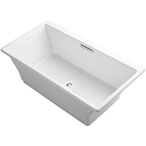 cast iron whirlpool bathtubs kohler reve 5 5 ft porcelain enameled cast iron flat bottom non whirlpool bathtub in