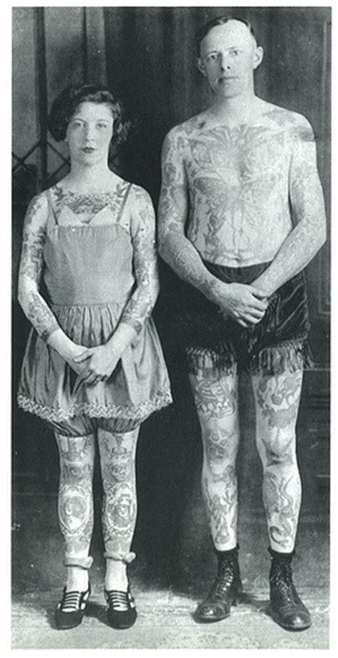 old tattooed couple vintage tatoos i
