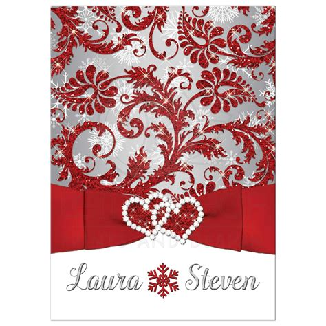 wedding invitation winter wonderland red silver