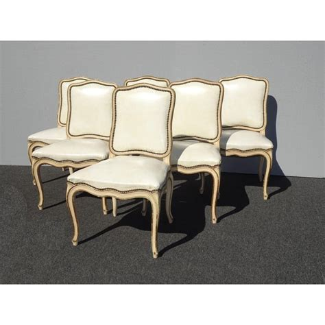 vintage french provincial  white leather dining