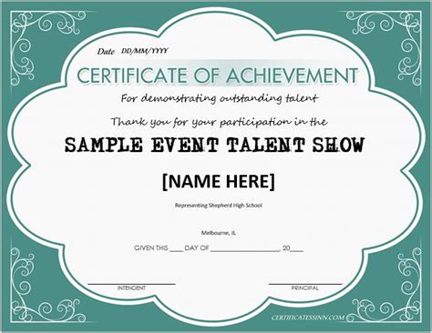 talent show certificate template talent show award certificates for ms word professional
