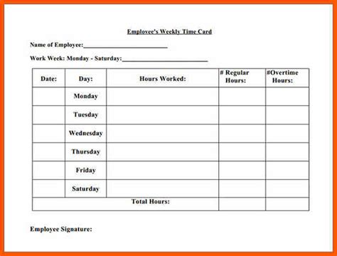 Time Card Template For Bartender With Tips by 5 Printable Time Cards Operation Sandbox